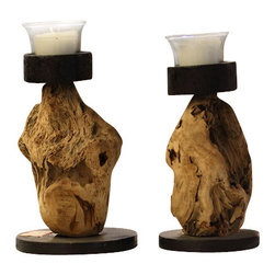 ParrotUncle - Handcrafted Home Decorative Candle Holder Pair of 2 - Natural, unfinished driftwood sculpted into a sturdy candle holders. Natural craft driftwood candle holders