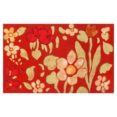 Trans-Ocean - Watercolor Flower Red Mats 3239/24 - The highly detailed painterly effect is achieved by Liora Mannes patented Lamontage process which combines hand crafted art with cutting edge technology.The 100% Polyester face, and 100% Recycled Rubber non-skid backing make this suitable for Indoor or Outdoor use and easy to clean.The low profile nature of these Lamontage mats is ideal for use in front of doors or in the kitchen, and the fun designs will bring excitement to any room of the house.