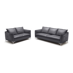 Zuri Furniture - Grey Bristol Leather Sofa Set With Loveseat - Simple yet sophisticated, Bristol is for those with an eye for sleek design.