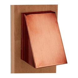 """Focus - Contemporary Solid Copper Outdoor Patio Deck Stair Step Light - Give your patio deck a new glow with this beautiful step light. A great accessory to put light on dark steps and walkways the piece comes in solid copper construction. Angled faceplate directs light downwards to the step and presents a small profile. From Focus Lighting. Includes one 12 volt 18 watt bulb. 3 1/2"""" high. 2 1/2"""" wide. Works with existing low voltage landscape lighting systems.  Solid copper construction.   Includes one 12 volt 18 watt bulb.   3 1/2"""" high.   2 1/2"""" wide."""