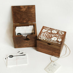 Heirloom Recipe Card Box - I have my fingers crossed that someone will gift me this beautiful recipe box for my wedding. The salvaged hardwood box looks like it's sure to be passed down for generations to come.