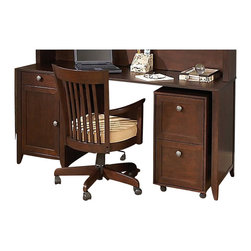 """Kathy Ireland Office by Bush Furniture - Kathy Ireland by Bush Grand Expressions 66"""" Desk with 2 Drawer Mobile Filing Cab - Kathy Ireland Office by Bush Furniture - Home Office Desks - AMA010WM - Keep your home organized with the kathy ireland Office by Bush Furniture 66"""""""" double pedestal desk with double the filing space. This classically designed piece of Americana is perfect for any home office: two filing drawers an advanced wire management system to keep your desk uncluttered and rounded corners and edges to help prevent collision injuries. The warm molasses finish and antiqued pewter hardware matches any kathy ireland Office by Bush Furniture Grand Expressions piece. Bush Furniture Quick-to-Assemble technology makes assembly three to five times faster."""