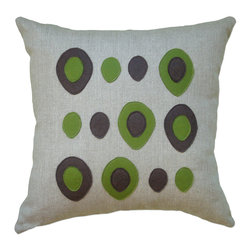 Balanced Design - Felt Appliqué Linen Pillow - Eggs, Chocolate/Moss, 16x16 - Wool felt and linen may seem like an unlikely combo, but as you can see it works to charming effect. Toss this pillow into your mix to pump up the wit and whimsy of your decor.