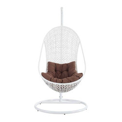 Modway - Bestow Lounge Hanging Egg Chair in White Brown - Establish your space with the Bestow Outdoor Swing Chair. Sink into the plush all-weather white cushion as you evince both goodness and patience. Allow your ideas to leap outward as you bequeath eminence from an elevated state.