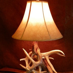 Belt Mountain Rustic Home Furnishings - Real Whitetail Deer Antler Table Lamp - Real whitetail deer antler table lamp.  3-way switch/bulb.  Quality Craftsmanship.