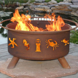Patina - Atlantic Coast 31-inch Fire Pit with Grill and FREE Cover - F116 - Shop for Fire Pits and Fireplaces from Hayneedle.com! A lighthouse crab seahorse and starfish will flicker around your next campfire from the intricate cutouts of the Atlantic Coast 31-inch Fire Pit. Made of durable cold-rolled steel this metal bottom fire pit with legs is perfect for camping and backyard entertaining. Includes a BBQ grill insert a poker and a spark arresting safety screen. Natural rust patina finish. No assembly required. FREE fire pit cover is included! If you plan to use your fire pit on a wood deck we recommend placing it over a protective pad or paving stones which can be purchased at your local hardware store.