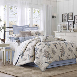 None - Harbor House Pyrenees 4-piece Comforter Set - Bring a little bit of nature into your bedroom with this beautiful Pyrenees comforter set.  This bedding collection has a beautiful scenic bird print and adds dimension through designer quilting on the comforter and shams.