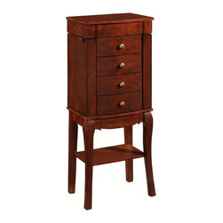 Linon Home Decor - Linon Home Decor Sophie Jewelry Armoire X-U10YHC040655 - A classic, timeless accent piece, the Sophie Jewelry Armoire is perfect for placing in a bedroom or dressing area. A flip top features a mirror for easy accessorizing and storage space. Each side opens to reveal hooks for keeping necklaces tangle free. Free drawers are lined with beige felt to keep all of your stored pieces safe. A bottom shelf is ideal for displaying items. Finished in a rich Cherry, this piece is perfect for any traditional styled home.