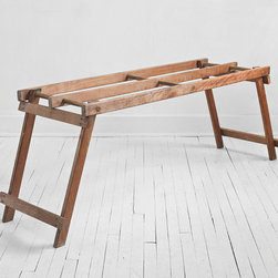 Vintage Wooden Bench by Hindsvik - A worn vintage bench creates a laid-back and beachy feel and is a perfect place to corral flip flops, towels and beach bags at the end of the day.