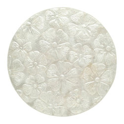 Kouboo - Round Capiz Seashell Placemat Set of 2, Off-White - Bring the balmy ocean breeze to your table with this hand-laminated placemat adorned with Capiz seashells. This lovely round Capiz placemat offers two distinct looks for your tablescape with embossed tropical flowers on one side and a beautiful pattern of Capiz shells on the other. The silvery color makes the placemat a perfect accent for entertaining at the lake house, the beach cabin, or at home.
