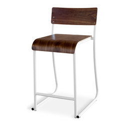 Gus Modern - Church Stool, White Powder Coat Walnut Natural - Church Stool by Gus Modern. Inspired by the functional chairs used in gathering rooms at churches, schools and public buildings. Made of bent steel tube and shaped ply, these chairs are stackable and come in Walnut or Natural Oak seat with either white or gray powder coated frame.