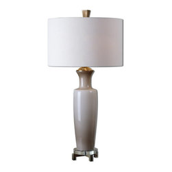Uttermost - Uttermost 27468-1  Consuela Taupe Gray Glass Table Lamp - Light taupe gray glass with brushed nickel plated details and crystal accents. the round hardback shade is a warm taupe linen fabric with natural slubbing.
