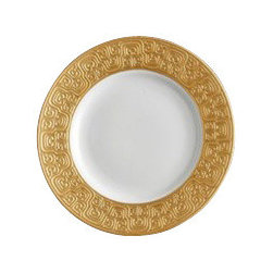"L'Objet - L'Objet Han Gold Bread and Butter Plate - The Han collection recalls the first of China's four great dynasties, a period of tremendous artistic achievement. Each piece recollects that rich and prosperous era while retaining a modern design. Limoges Porcelain. 24K Gold Details. Dimensions: 6.5"". L'Objet is best known for using ancient design techniques to create timeless, yet decidedly modern serveware, dishes, home decor and gifts."