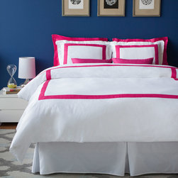 Bedding - LaCozi's boutique hotel collection is ideal for both resorts and private residences. The duvet cover sets come in a variety of colors on white with stitched borders. All sets are 1100 thread count and made out of 100% cotton sateen. With intricate detail, each set is hand sewn and cut to a custom size. Each set includes a duvet cover and 2 sham covers. With a sleek design of sewn rectangular color accents, the boutique hotel collection coordinates with any style of room. 1100TC Sateen Duvet Set Includes: - 1 Duvet Cover (hot pink stitched border on white) - 2 Sham Covers (hot pink stitched border on white) * Available Size: Full/Queen, King * Available Color: Black, Turquoise, Tiffany Blue, Royal Blue, Spring Green, Mustard, Hot Pink, Lavender, Persimmon, Charcoal Gray, Brown, Beige, Burgundy