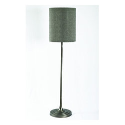 Four Hands - Harlow Floor Lamp In Raw Nickel Finish - The Harlow Floor Lamp In Raw Nickel Finish features an exquisite lampshade carried by a sleek stem which firmly mounts on a round lacquered base. This stylish lamp gleams using one bulb, giving direct downward light that scatters to illuminate the entire space. The lamp is contrived in compound material, thus ensuring ruggedness and reliability to the most. The lamp comes in beautiful gray shade.