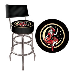 Trademark Global - Miller High Life Girl in the Moon Padded Bar - Chrome plated double rung base. Adjustable levelers. Commercial grade vinyl seat. Long lasting Officially Licensed Miller High Life Girl in the Moon Vintage Logo. Backrest for added comfort. Great for bar pub table and bars. Padded seat: 14.75 in. Dia. x 7.5 in. H. 30 in.H as bar stool. Total dimensions: 40 in. L x 15 in. W x 15 in. H (25 lbs.)This Miller High Life Girl in the Moon Vintage Bar Stool with Backrest will be the highlight of your bar and game room. Great for gifts and recreation decor.