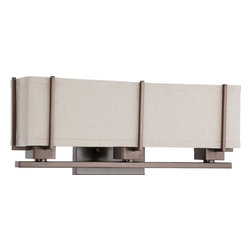 Hazel Bronze Energy Star 3 Light Wall Sconce With Khaki Fabric Shade - Condition: New - in box