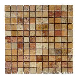 Autumn Blend 1x1 Tumbled Travertine Mosaic - http://www.millenniumtravertine.com