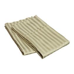 400 Thread Count Egyptian Cotton King Sage Stripe Pillowcase Set - 400 Thread Count Egyptian Cotton King Stripe Sage Pillowcase Set