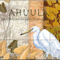 The Tile Mural Store (USA) - Tile Mural - Feather Cloak - Kitchen Backsplash Ideas - This beautiful artwork by Paul Brent has been digitally reproduced for tiles and depicts an Egret.  Images of waterfowl on tiles are great to use as a part of your kitchen backsplash tile project or your tub and shower surround bathroom tile project. Pictures of egrets on tile, images of herons on tile and decorative tiles with ducks and geese make a great kitchen backsplash idea and are excellent to use in the bathroom too for your shower tile project. Consider a tile mural of water fowl for any room in your home where you want to add interesting wall tile.