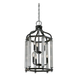 Uttermost - Chatsworth 6-Light Bronze Lantern - This traditional lantern shape is updated with graceful glass side columns and a combination finish of oil rubbed bronze with plated polished chrome accents, converting Old World looks into today's  trends.