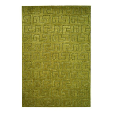 Safavieh - Green Hand-Tufted Greek Key Rug (5 ft. x 8 ft.) - Size: 5 ft. x 8 ft.. Hand woven from quality wool and tufted for softness, this green area rug excels anywhere in your home. It has a classic Greek key geometric pattern for added depth and dimension. Hand Tufted. Wool and Viscose. Made in IndiaThe Soho Collection is Safavieh's response to market demand for clean, transitional design in rugs that work equally well in traditional and contemporary homes. The collection's unique purity and clarity of the color is achieved by selecting only the purest premium New Zealand wool as a canvas for Safavieh's exciting new color palette. Many of the designs in the Soho collection are accented with viscose for silky softness to outline patterns, and further highlight the softness of the wool. This innovative collection is hand-tufted in India.