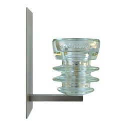 WAC by Railroadware - LED Insulator Light Sconce - Armstrong 53 - The Clear Armstrong 53 glass insulator with WAC Wall Sconce Lighting LED fixture
