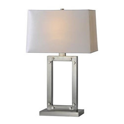 Ren-Wil - Lamp - Bring the industrial look home with the aviation lamp finished in satin nickel and featuring screw corner accents, a white linen shade and matching satin nickel finial.