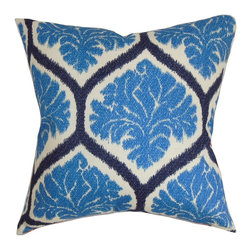 """The Pillow Collection - Priya Floral Pillow Blue 18"""" x 18"""" - Striking and bold, this beautiful floral throw pillow is a perfect indoor decor piece. Make your living room, bedroom or guestroom an ideal place for relaxation by adding this cushy accent pillow. The fancy floral design and geometric pattern meld together creating a unique design. The blue, white and dark blue color palette adds more punch to this square pillow. Made in USA. Made from 100% high-quality cotton material. Hidden zipper closure for easy cover removal.  Knife edge finish on all four sides.  Reversible pillow with the same fabric on the back side.  Spot cleaning suggested."""