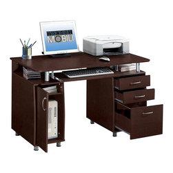 Techni Mobili - Techni Mobili Super Storage Computer Desk in Chocolate Finish - Techni Mobili - Computer Desks - RTA4985CH36 - Features: