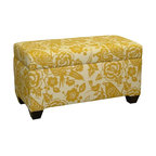 Skyline Furniture Walnut Hill Storage Bench, Canary Fabric - This storage bench has a beautiful and bright pattern.