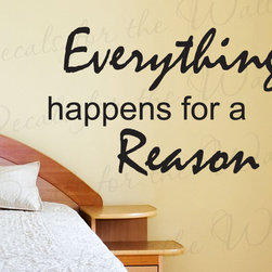 Decals for the Wall - Wall Decal Sticker Quote Vinyl Art Lettering Things Happen for a Reason IN20 - This decal says ''Everything happens for a reason''
