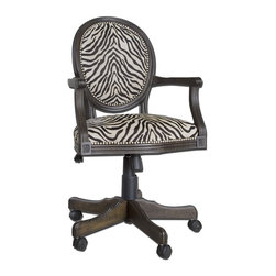 Carolyn Kinder - Carolyn Kinder Yalena Desk Chair X-77032 - Solid, white mahogany wood with fluted carvings in a distressed black with dark espresso undertones featuring adjustable height and swivel castors. Comfortable seating in woven antique white and black accented by nickel nail head detail.