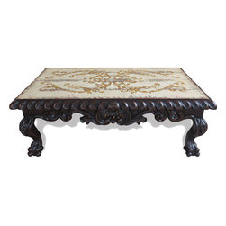 Koenig Collection - Old World Traditional Scroll Coffee Table, Black Baroque And Antiqued Cream - Scroll Coffee Table, Black Baroque and Antiqued Cream Distressed W/ Turquoise and Red W/ Scrolls