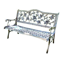 Oakland Living - Oakland Living English Rose Cast Aluminum Bench-Antique Bronze - Oakland Living - Outdoor Benches - 6008AB - About this product: