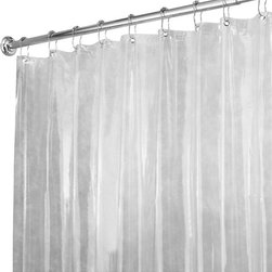 """Vinyl Shower Curtain Liner Clear - Vinyl Shower Curtain Liner Clear features rust proof metal grommets, magnetic bottom, commercial weight, and is mold and mildew resistant. 72"""" x 72"""""""