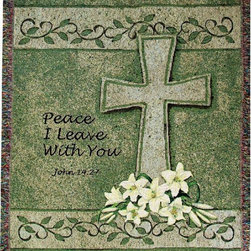 Manual - Peace I Leave with You Cross Tapestry Blanket 50 Inch x 60 Inch - This multicolored woven tapestry throw blanket is a wonderful addition to any home. Made of cotton, the blanket measures 50 inches wide, 60 inches long, and has approximately 1 1/2 inches of fringe around the border. The blanket features white lilies at the base of a gray cross, against a green background. A Bible verse, 'Peace I leave with you - John 14:27', is printed to the side of the cross. Care instructions are to machine wash in cold water on a delicate cycle, tumble dry on low heat, wash with dark colors separately, and do not bleach. This comfy blanket makes a great gift for friends and family.