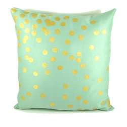Mint and Gold Scattered Circles Pillow by Katie Scarlett & Co. - Mint green and gold make for a glamorous color combination.