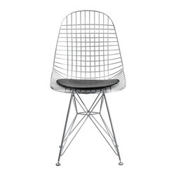 Fine Mod Imports - Eiffel Dining Chair, Black - The Eiffel Dining side chair features a solid chrome steel frame, a chrome wire base and PU seat pad. Available in black and white fabric upholstery.