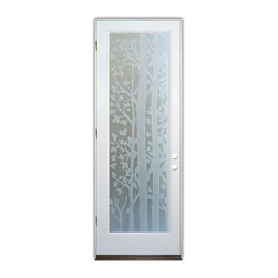Sans Soucie Art Glass (door frame material Plastpro) - Glass Front Entry Door Sans Soucie Art Glass Forest Trees 3D Private - Sans Soucie Art Glass Front Door with Sandblast Etched Glass Design. Get the privacy you need without blocking light, thru beautiful works of etched glass art by Sans Soucie!This glass provides 100% obscurity.Door material will be unfinished, ready for paint or stain.Bronze Sill, Sweep.Satin Nickel Hinges. Available in other finishes, sizes, swing directions and door materials.Tempered Safety Glass.Cleaning is the same as regular clear glass. Use glass cleaner and a soft cloth.