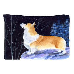 Caroline's Treasures - Starry Night Corgi Fabric Standard Pillowcase Moisture Wicking Material - Standard White on back with artwork on the front of the pillowcase, 20.5 in w x 30 in. Nice jersy knit Moisture wicking material that wicks the moisture away from the head like a sports fabric (similar to Nike or Under Armour), breathable performance fabric makes for a nice sleeping experience and shows quality. Wash cold and dry medium. Fabric even gets softer as you wash it. No ironing required.