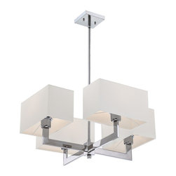 Quoizel - Quoizel Remi Chandelier X-C4005MER - From the Remi Collection, this Quoizel Lighting chandelier is ideal for updated, contemporary homes who favor clean lines and crisp, stylized looks. The four lights are housed in crisp rectangular white fabric drum shades, which are attached to coordinating crisp, angular arms on this contemporary chandelier. The Polished Chrome finish accentuates these lines, adding to the appeal of this eye-catching chandelier.