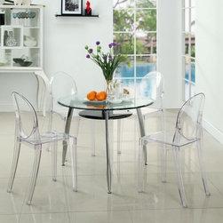 Modway Imports - Modway EEI-908-CLR Casper Dining Chairs Set of 4 In Clear - Modway EEI-908-CLR Casper Dining Chairs Set of 4 In Clear