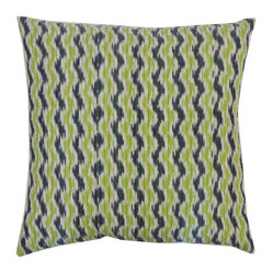 JITI - Quilted Ikat Green Blue Pillow - Nothing says world traveler like an ikat pattern. This green and blue ikat pillow will look fantastic with a mix of your solid-colored throw pillows.