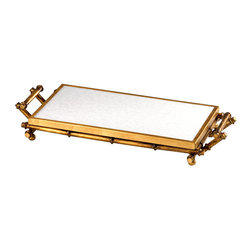 Bamboo Tray - A tray that serves more than one purpose. The Bamboo Serving Tray allows you to serve your guests in style: A glimmering Gold finish adds a soup on of glam to the exotic bamboo-inspired handles and sides. When not in use for serving, the tray does double duty as a stunning table centerpiece.
