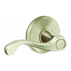 SCHLAGE LOCK - Flair Passage Lever Satin Nickel - For residential single and multi-family hall/closet doors. Both knobs always unlocked. Zinc based and plated, solid lever designing.