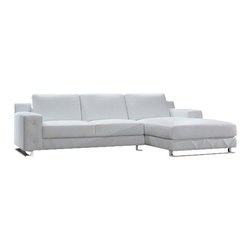 VIG Furniture - Delta White Top Grain Leather Sectional Sofa - The Delta sectional sofa is a great choice for any living room that needs a touch of modern design. This sectional sofa comes upholstered in a beautiful white top grain leather in the front where your body touches. Skillfully chosen match material is used on the back and sides where contact is minimal. High density foam is placed within the cushions for added comfort. A subtle tufted design runs along the arms and bottom of the sectional adding to the overall look. Only solid wood products were used when crafting the frame making it very durable.
