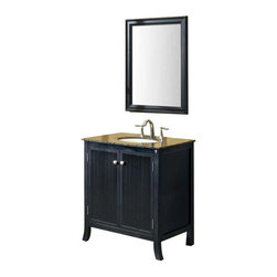 Fresca - Fresca Thames Traditional Single Sink Bathroom Vanity w/ Baltic Brown Countertop - The Fresca Thames Traditional Single Sink Bathroom Vanity is a perfect contemporary aesthetic for a small to medium size bathroom. Choose from a flecked Baltic brown or rich black galaxy granite; or creamy honey travertine stone countertop. The matte black finish of the solid Aspen wood cabinet frame has a striking vertical ribbed architectural detail built into the door panels. A set of brushed nickel door pulls finishes the look. Two interior shelves provide ample storage. Add the Thames traditional mirror for a full ensemble, sold separately.