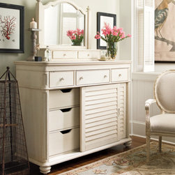 Universal Furniture - Paula Deen The Lady's Dresser with Storage Mirror - Update your space by peppering-it with cottage inspired pieces, such as the Paula Deen Lady's Storage Dresser and Mirror by Universal Furniture. With a variety of features like 6 tray drawers, sliding doors and a drop center drawer, this versatile two door dresser can even be used as a media chest! Coated in silky linen finish, the feminine storage mirror complements the stately dresser; enhancing the rustic charm and practicality of this wonderfully versatile dresser and mirror set.