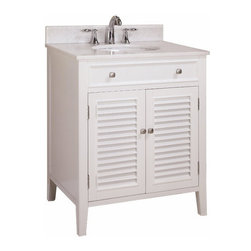 "Tennant Brand - 32"" Cottage Style Keri Single Sink Bathroom Vanity N1128-32W - Dimensions:"